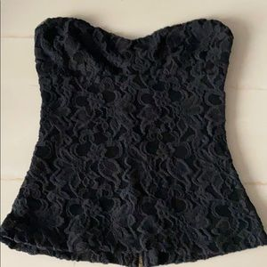 Pins & Needles Black Lace Top Size Small